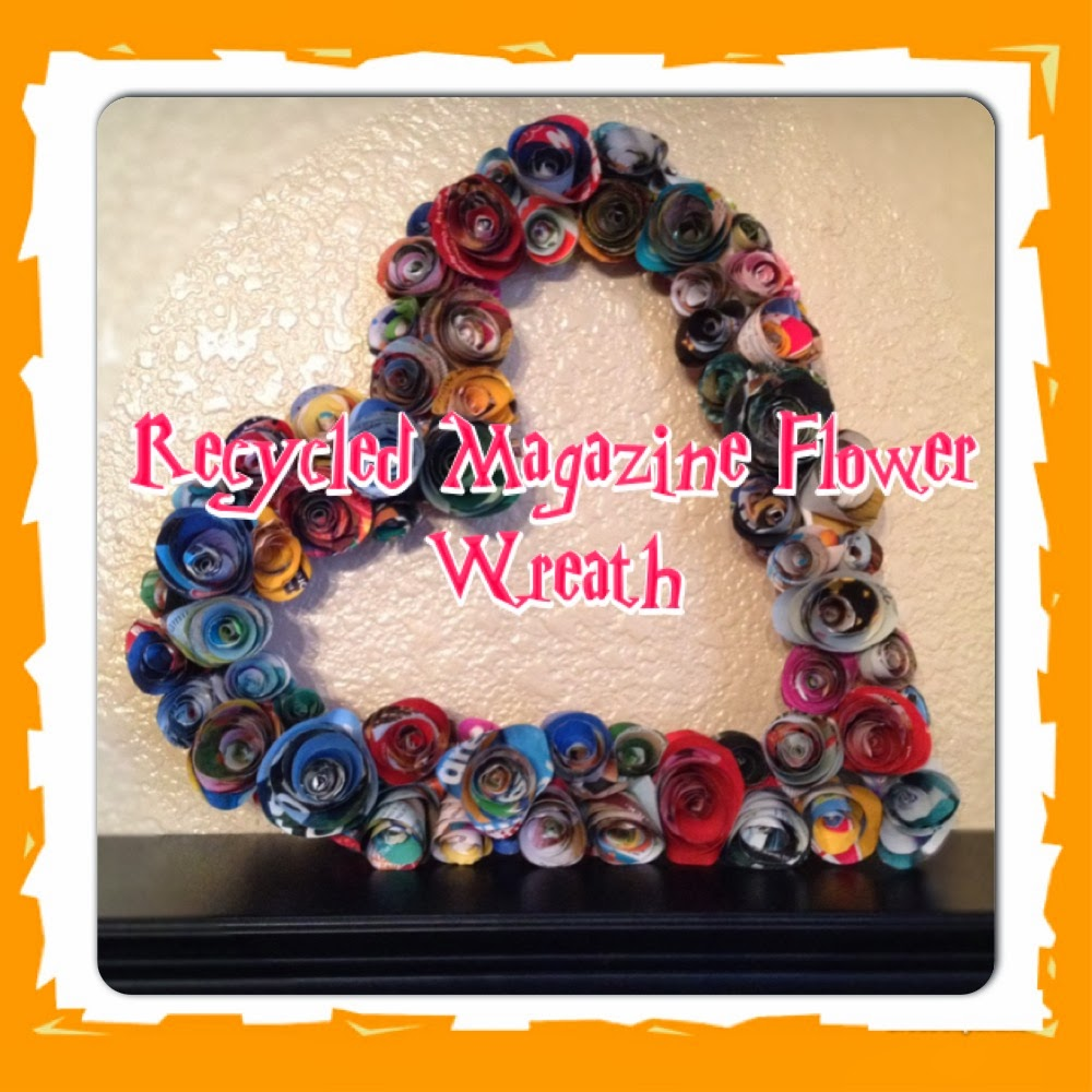 Recycled Magazine Flower Wreath