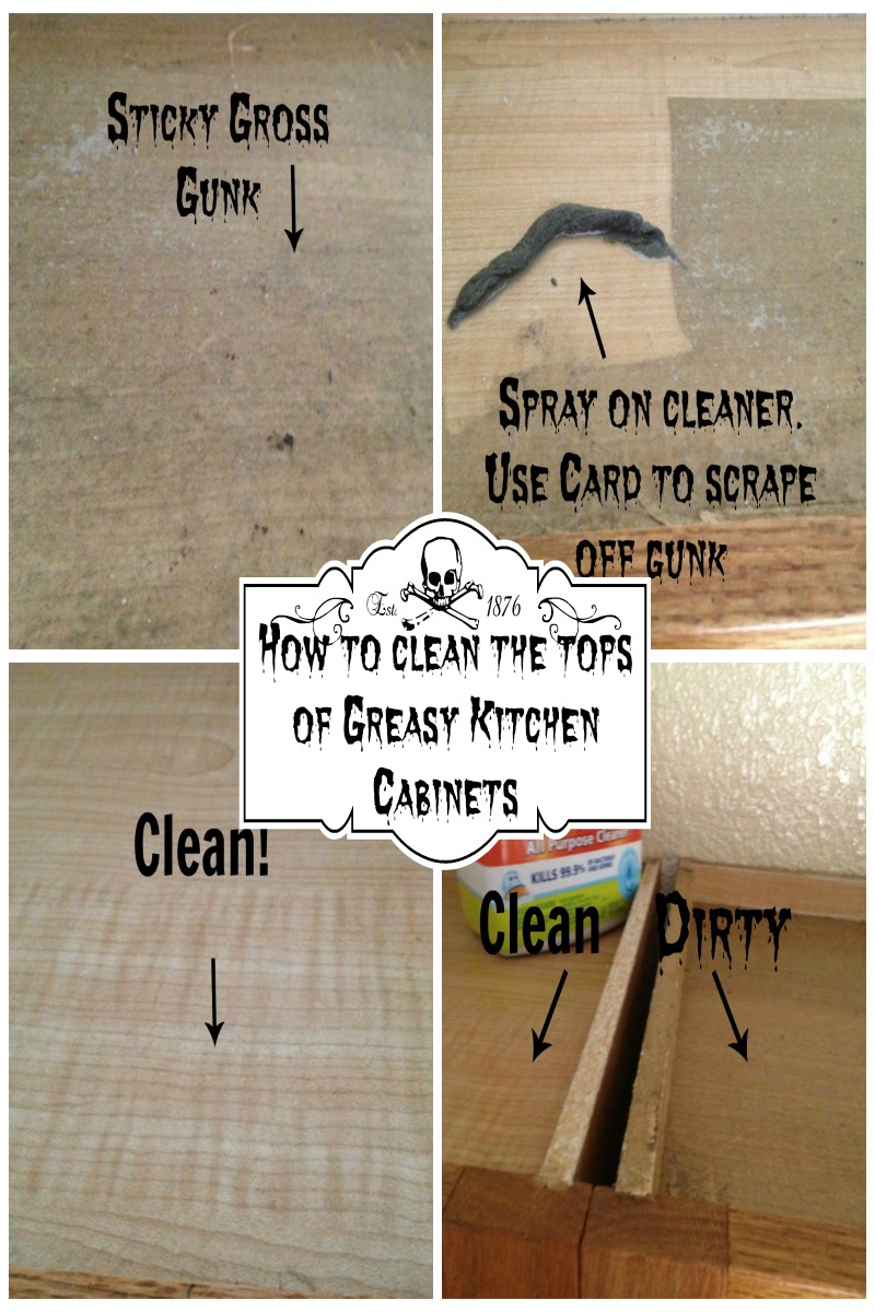 Secret to cleaning the top of greasy kitchen cabinets for Best cleaner for greasy wood kitchen cabinets
