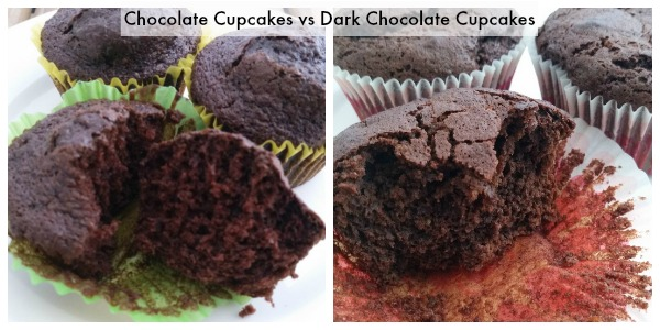 Side by side Chocolate Cupcakes