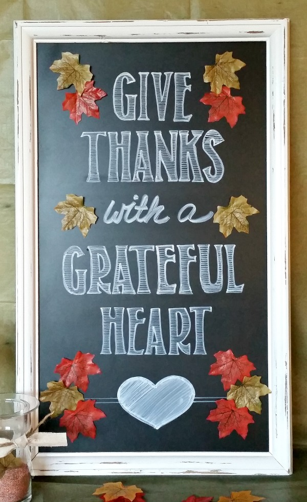 Give Thanks Chalkboard Sign - A tutorial on making a fall give thanks chalkboard sign.