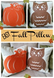 Easy Fall Pillow - quick and easy way to make a fall pillow. Use dollar store felt cut outs.