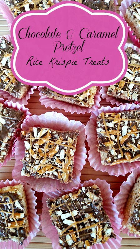 Chocolate & Caramel Pretzel Rice Crispies - a twist on a classic treat! Caramel mixed into the rice krispies, topped with chocolate and pretzels.