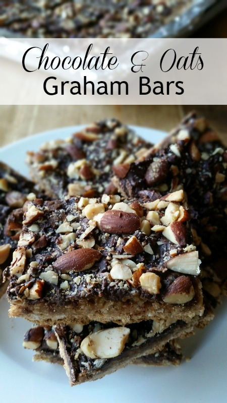 Chocolate and Oats Graham Bars - Graham crackers, oats, and smoked almonds are the main ingredients for this rich and tasty dessert bars.