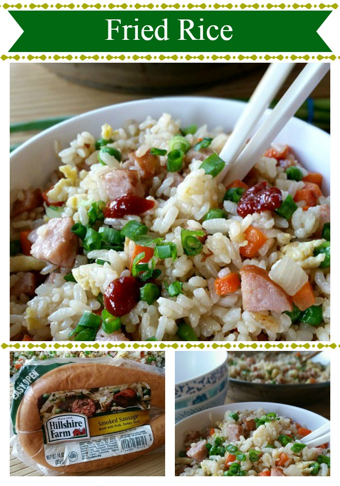 Fried Rice - A quick, easy, and tasty meal that can be ready in 30 minutes. #BringHillshireHome #sponsored @Safeway @HillshireFarm