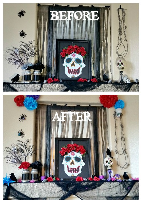 Halloween mantle before & after