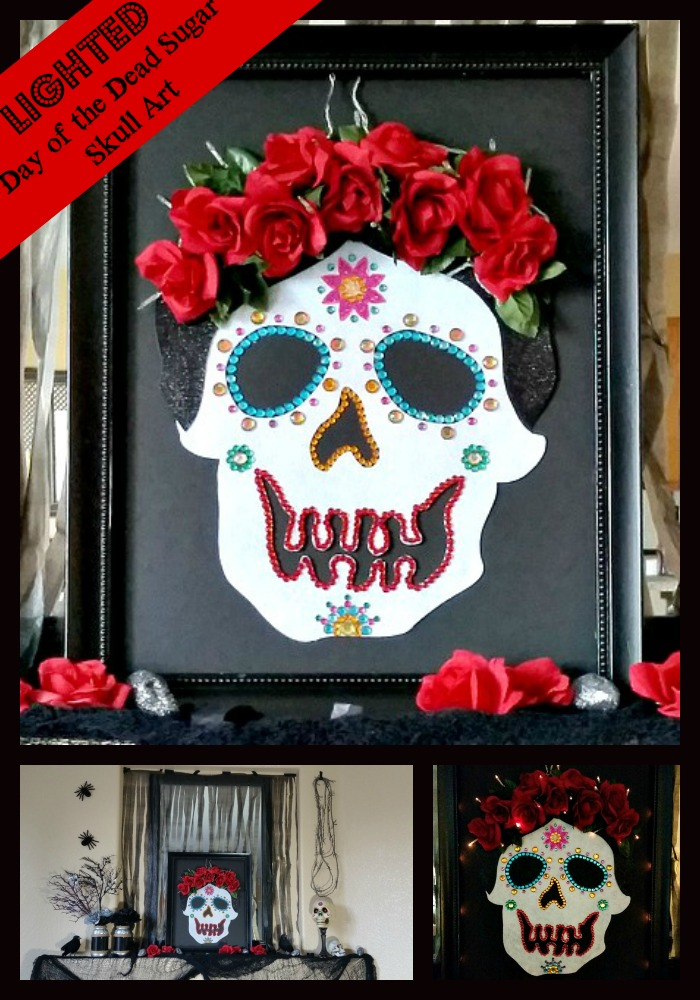 Lighted Day of the Dead Sugar Skull Art