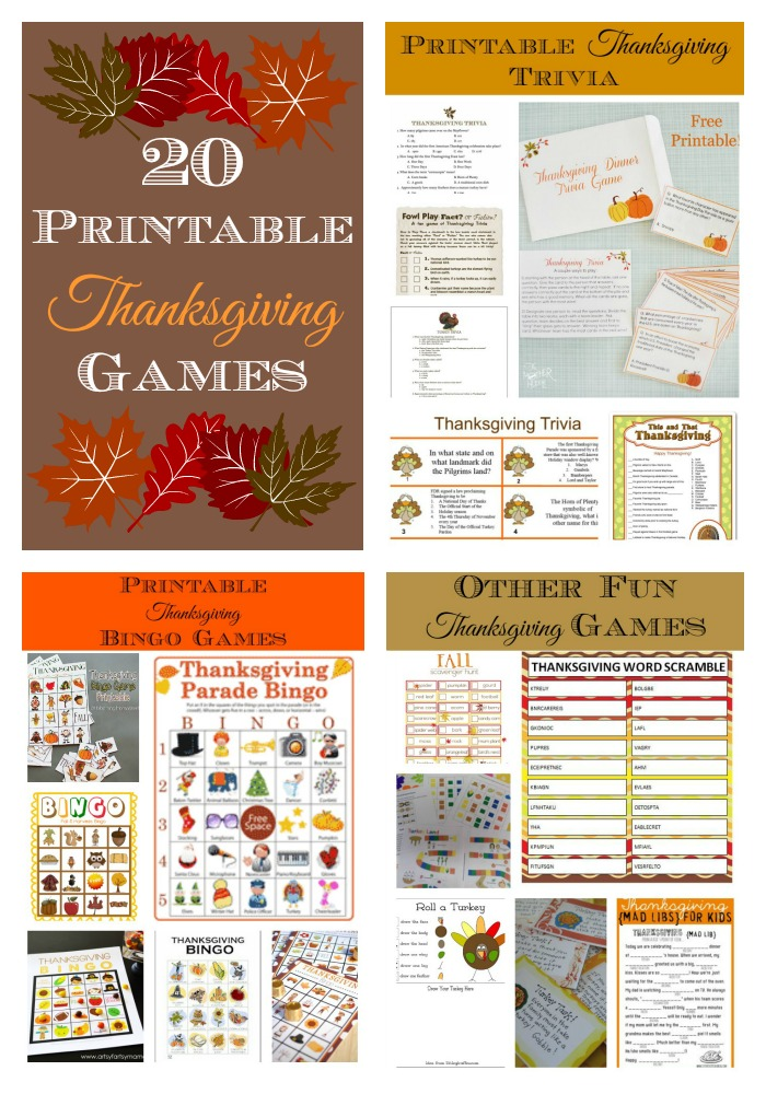 20 Printable Thanksgiving Games - Bingo, Word Scramble, Scavenger hunts, and more.