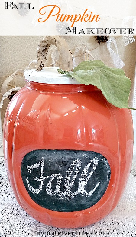 Fall Pumpkin Makeover - turn a plastic pretzel pumpkin container into a stylish fall pumpkin.