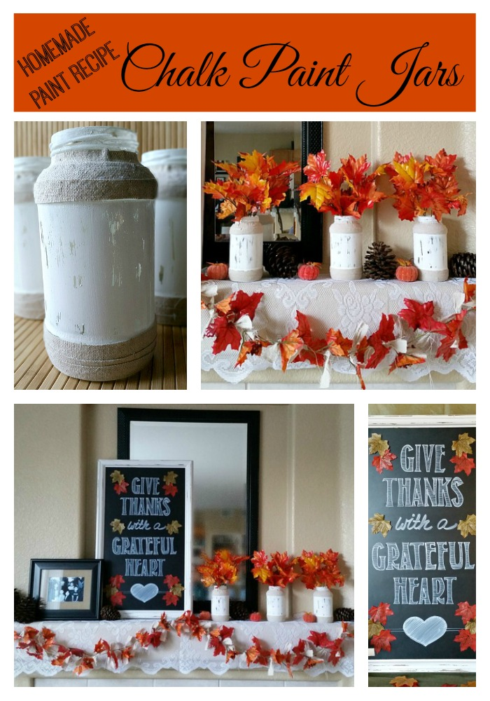 Homemade Chalk Paint Recipe Jars - A super easy homemade chalk paint recipe. Plus, a tutorial on how to make these rustic looking glass jars by recycling glass jars and scraps of fabric.