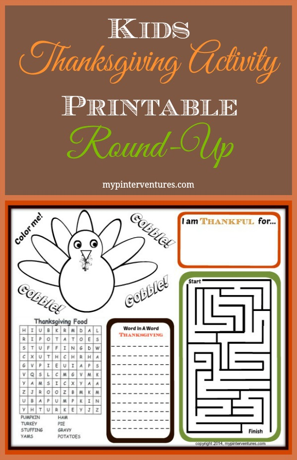 Kids Thanksgiving Activity Printable Round-Up