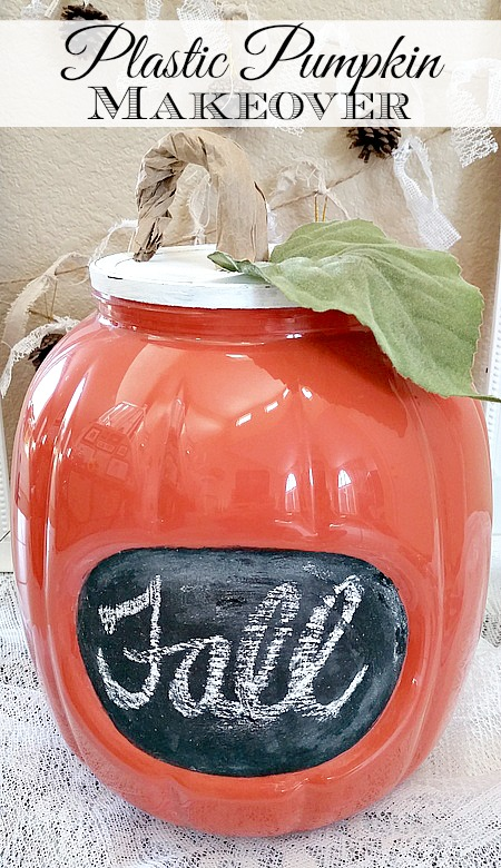Fall Pumpkin Makeover - from plastic pretzel container to fall pumpkin decoration.