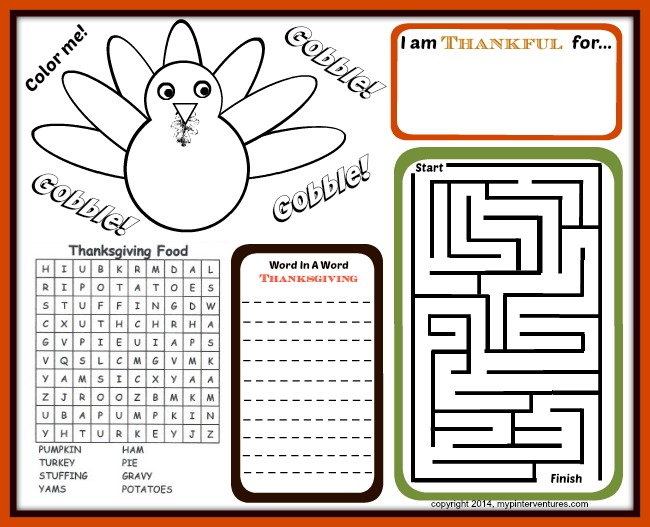 kids thanksgiving activity printables - Free Activity Pages For Kids