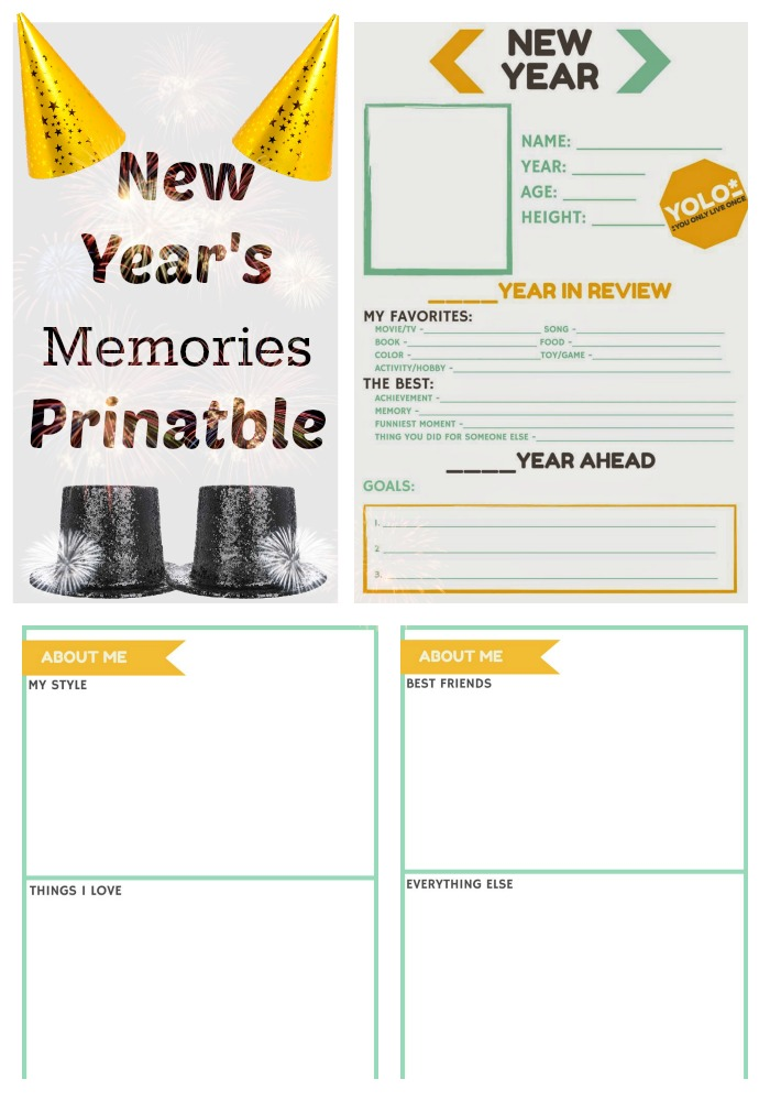 New-Years-Memories-Printable- Great way to celebrate the New Year with teens & older kids. Use these sheets to make a time capsule or make an album to document each year. Use pages 2 and 3 to create scrapbook pages or add more photos. *Make sure you set your margins to your desired width before printing.