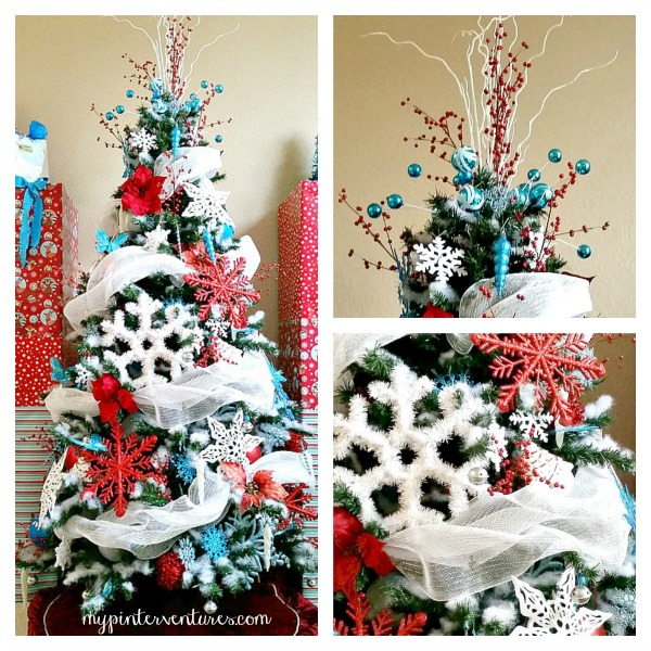 red turquoise white christmas tree i had so much fun decorating - White Christmas Tree Decoration Ideas