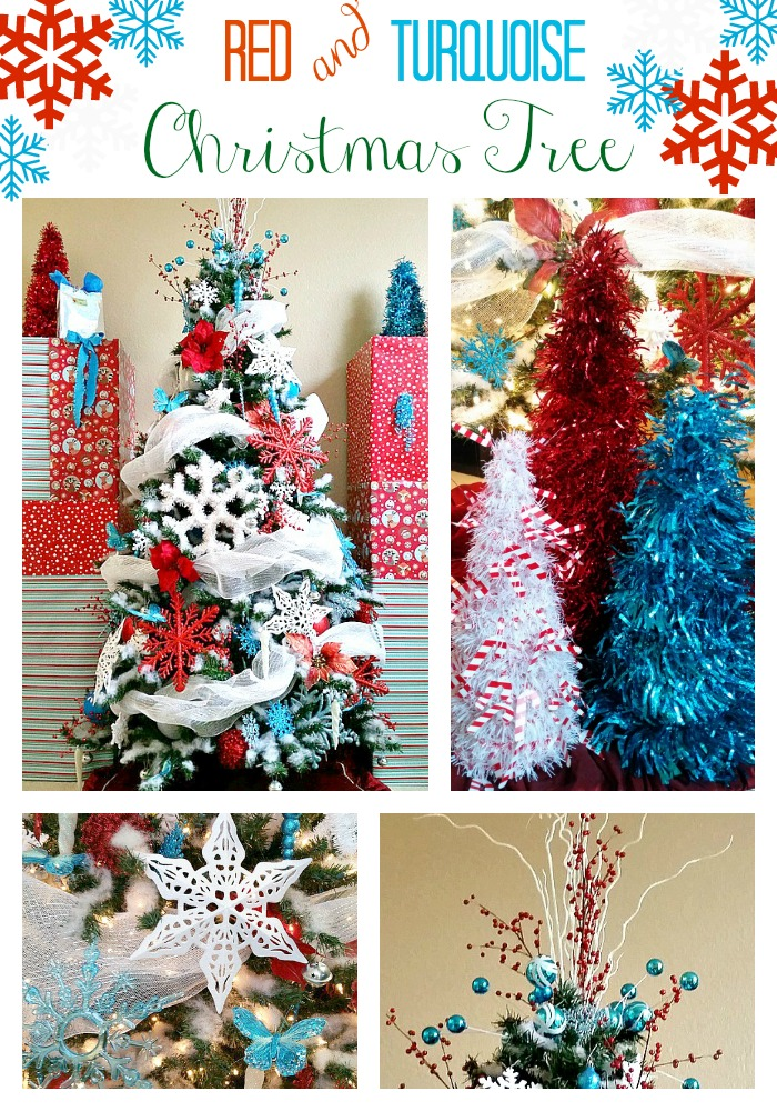 Red and Turquoise Christmas tree