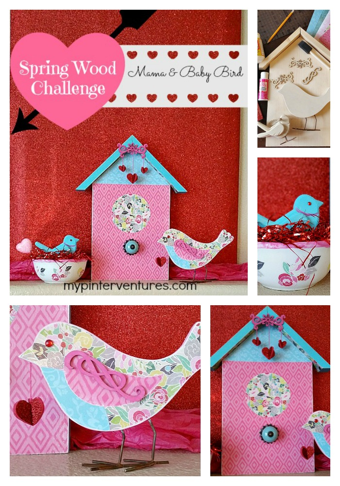 Michaels-Spring-Wood-Run-Challenge - Transition from Valentine's Day to Spring with decoupage mama and baby bird. #madewithmicheals #plaidcrafts