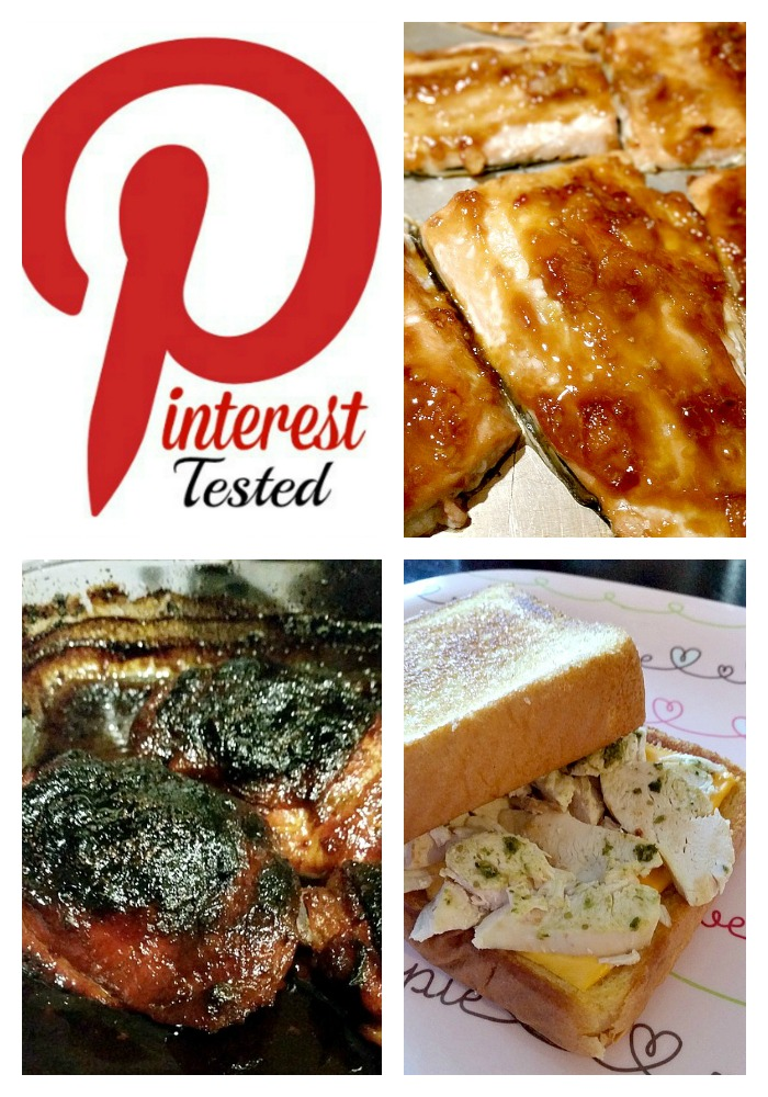 Pinterest-Tested-January-Week-1- Three new recipes from Pinterest are tested - Sweet 'n' Hot Glazed Salmon, Grilled Pesto Chicken Sandwich, Honey Soy Drumstick