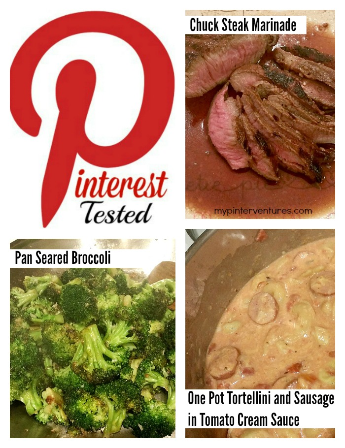 Pinterest-Tested-15 - 3 recipe pins from Pinterest are tested ~ Chuck Steak Marinade, Pan Seared Broccoli, and One Pot Tortellini and Sausage in Tomato Cream Sauce. See what worked and what didn't.