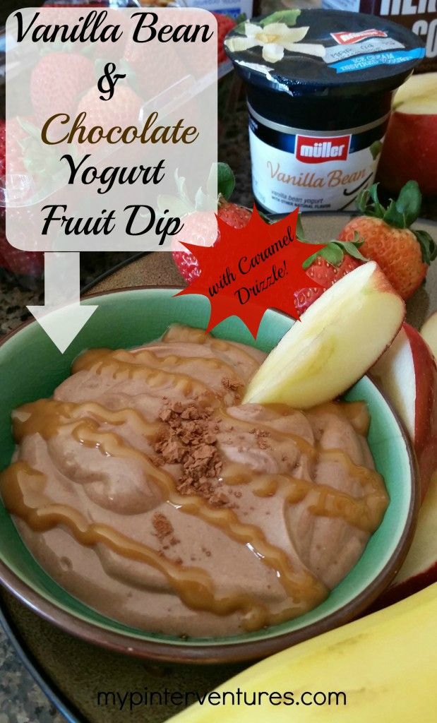 Muller-vanilla-bean-&-chocolate-yogurt-fruit-dip-with-caramel-drizzle Easy, quick, and tasty breakfast or snack fruit dip. Made with vanilla bean yogurt, cocoa powder, honey, and sugar-free caramel syrup.