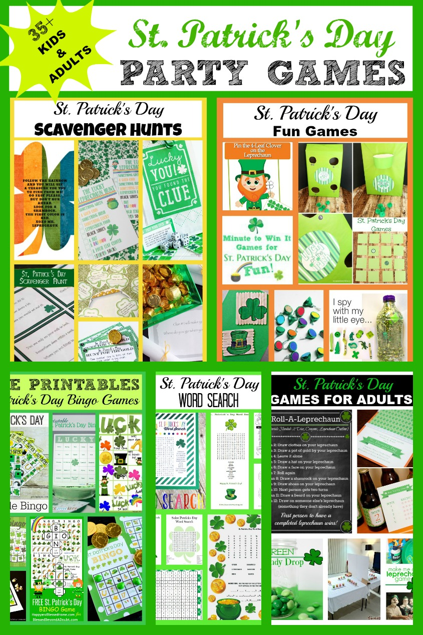 St. Patrick's Day Party Games - Find over 35+ St. Patrick's Day games for kids and adults. FREE printables and links to party game directions.