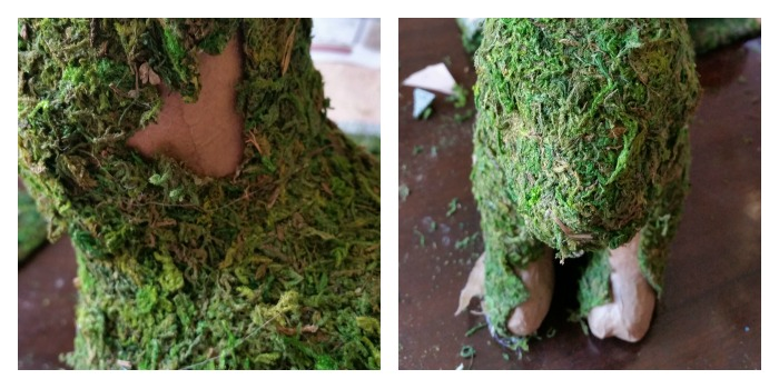 Fill in moss pieces on bunny