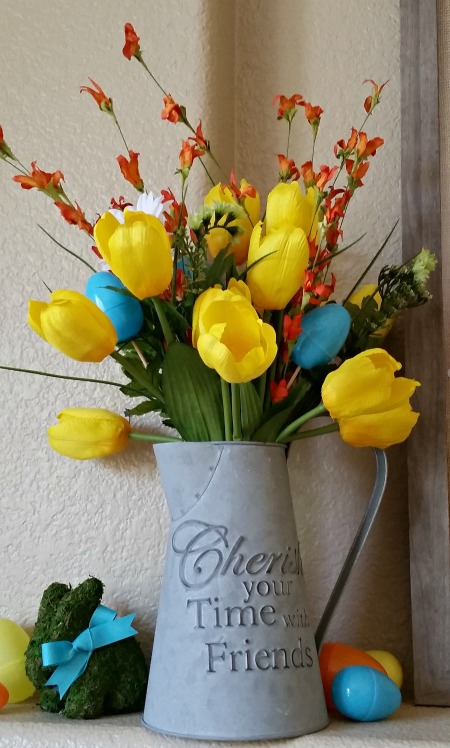 spring mantel flowers