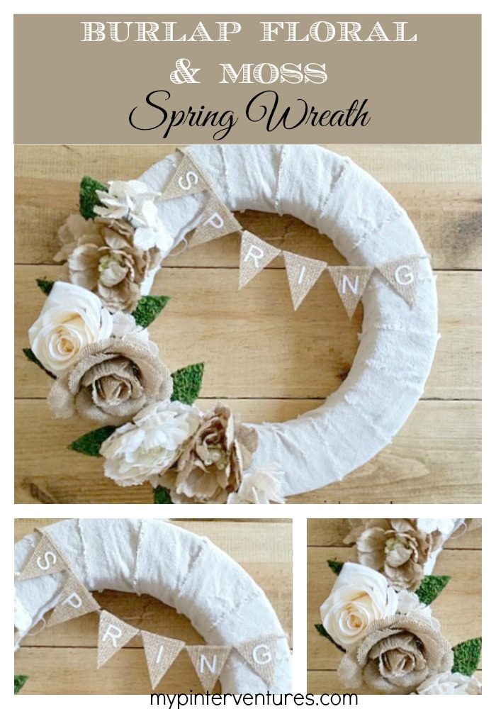 Burlap floral and moss spring wreath