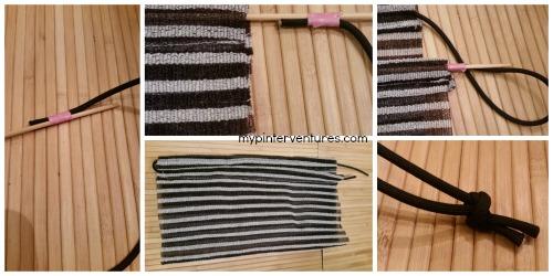 Thread nylon cord through scrubbing soap saver