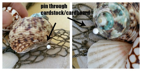 Pin sea shells to wreath