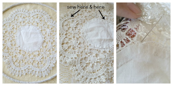 Sew vintage doily bohemian dream catcher