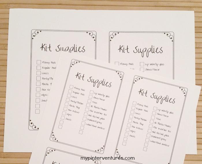 Period Kit Supply Checklist