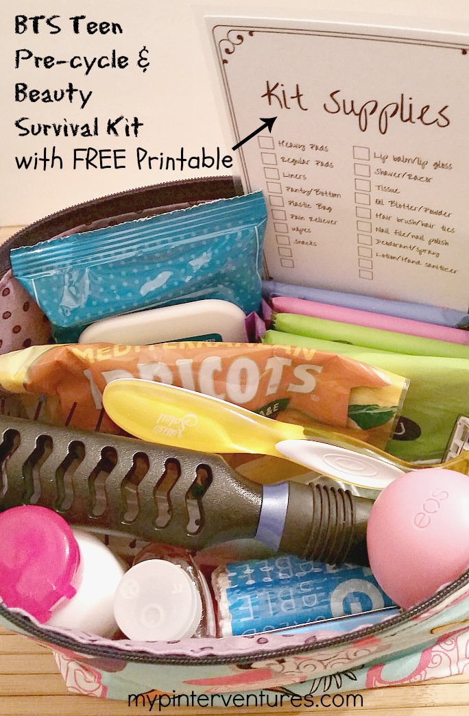 Back to School Teen Pre-Cycle & Beauty Survival Kit. Plus free printable