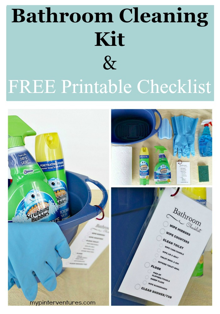 Bathroom cleaning kit with printable checklist my for Bathroom cleaning supplies list