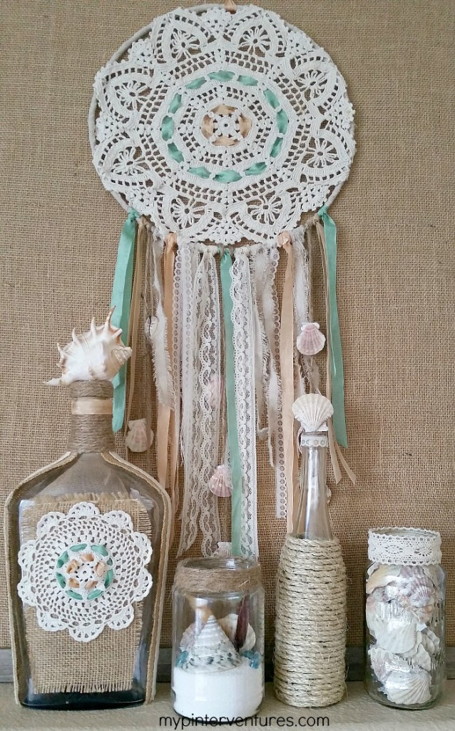 Glass Bottle Recycle - Doily and Sea Shell Bottle