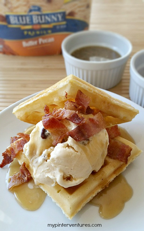 Ice Cream Waffle with Maple Butter Syrup and Bacon