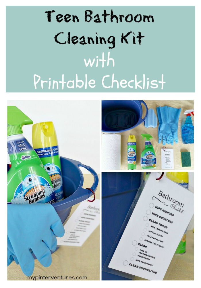 Teen Bathroom Cleaning Kit with Printable Checklist