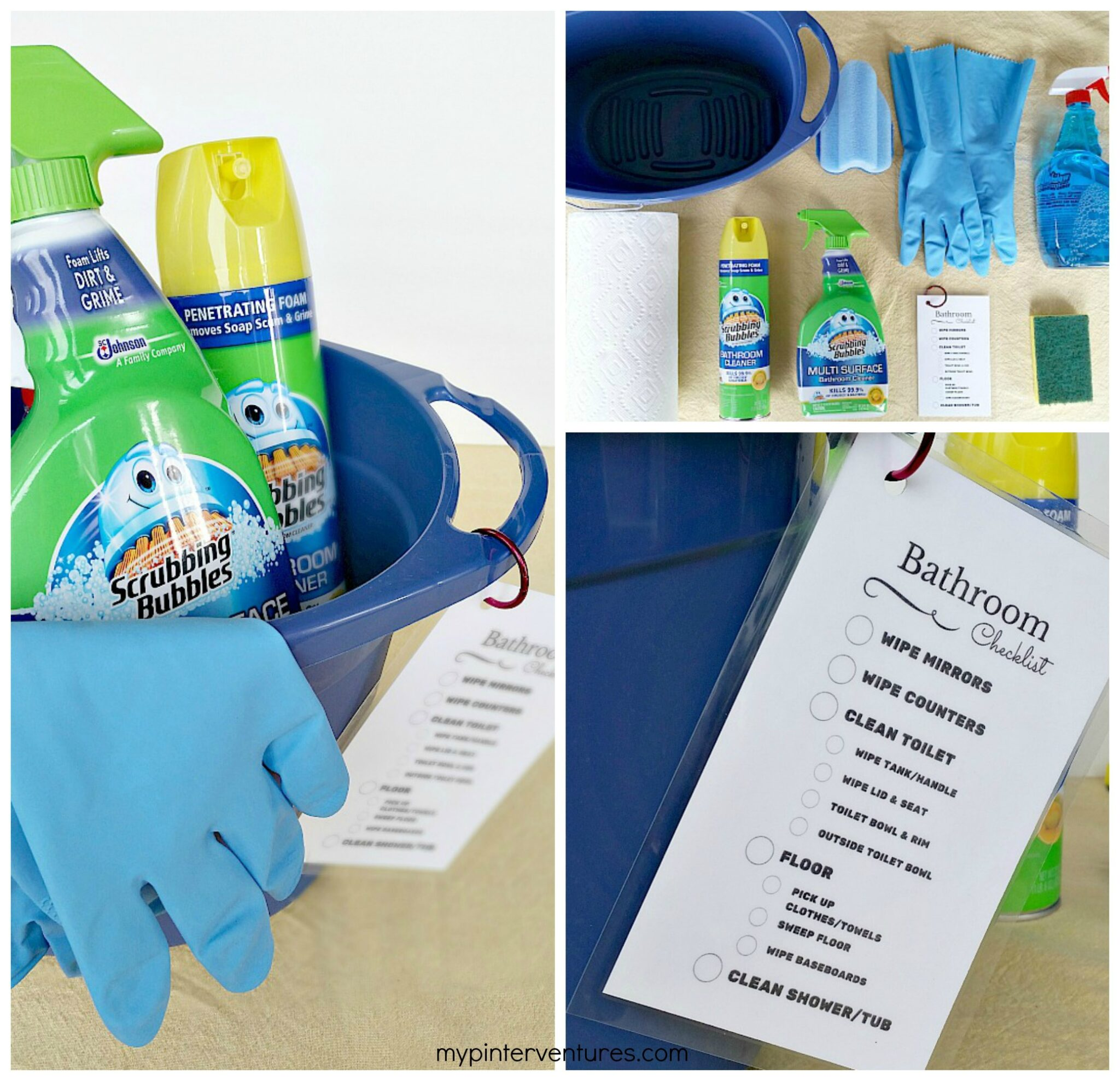 Bathroom Cleaning Kit with Printable Checklist #savewithbubbles