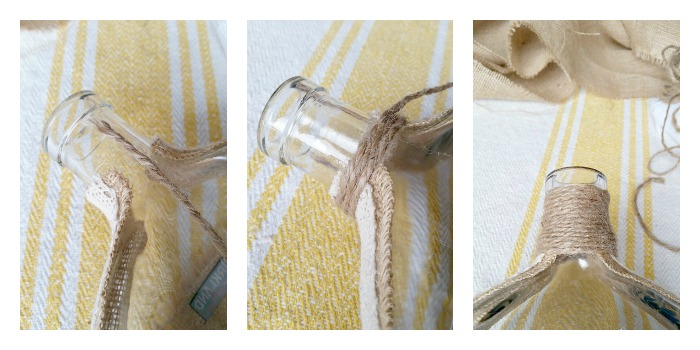 Wrap twine on Sea Shell Bottle