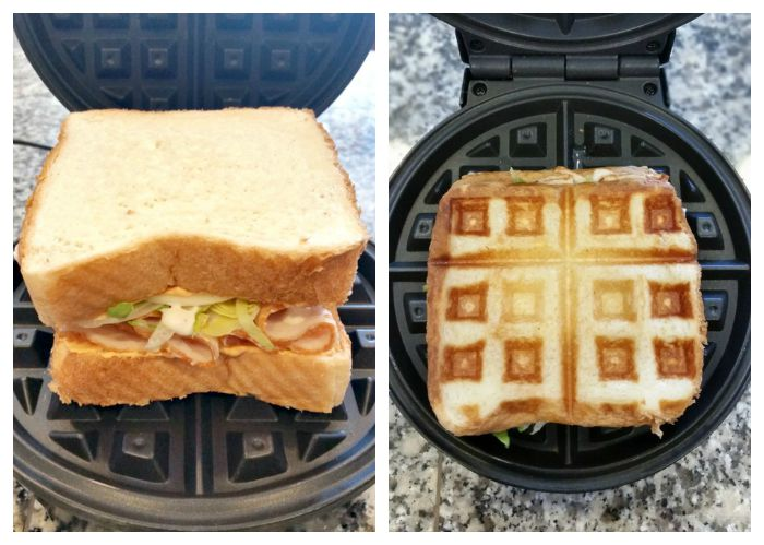 Buffalo Turkey Waffleich Sandwich in waffle iron