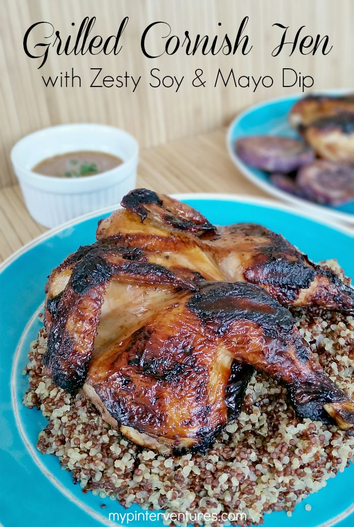 Grilled Cornish Hen with Zesty Soy & Mayo Dip