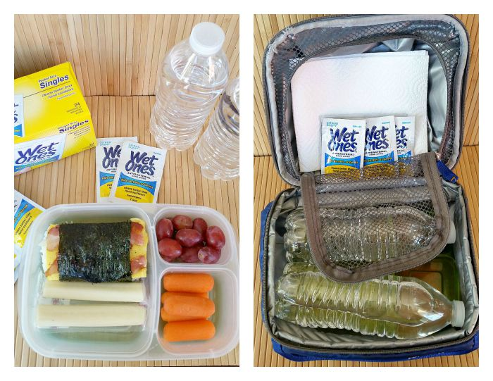 Packed lunch box with Wet Ones