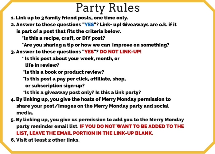 merry monday party rules please make it easy for us to share your posts on social media by installing share buttons to your blog site - Halloween Party Rules
