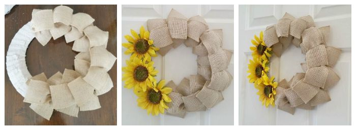 Final step Fall Burlap Ribbon Wreath