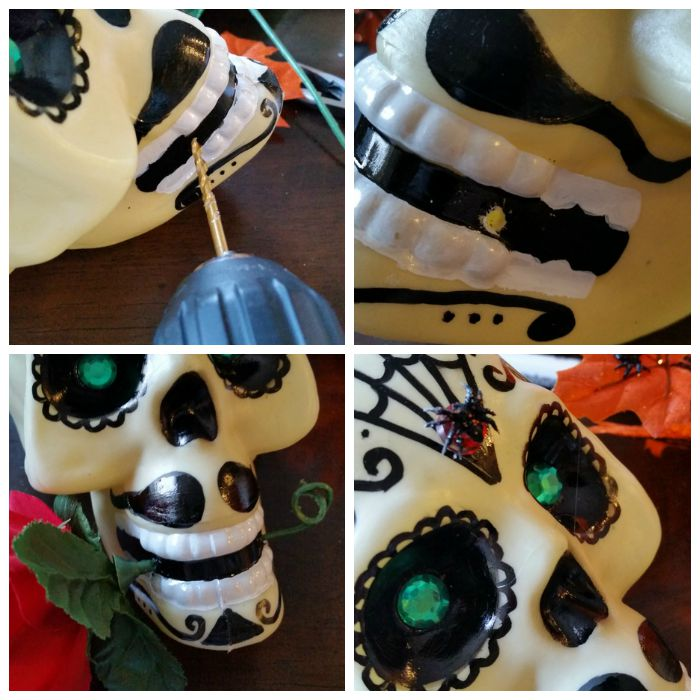 Finishing sugar skull touches