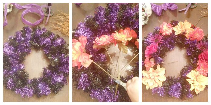 Fluff wreath and cut flowers