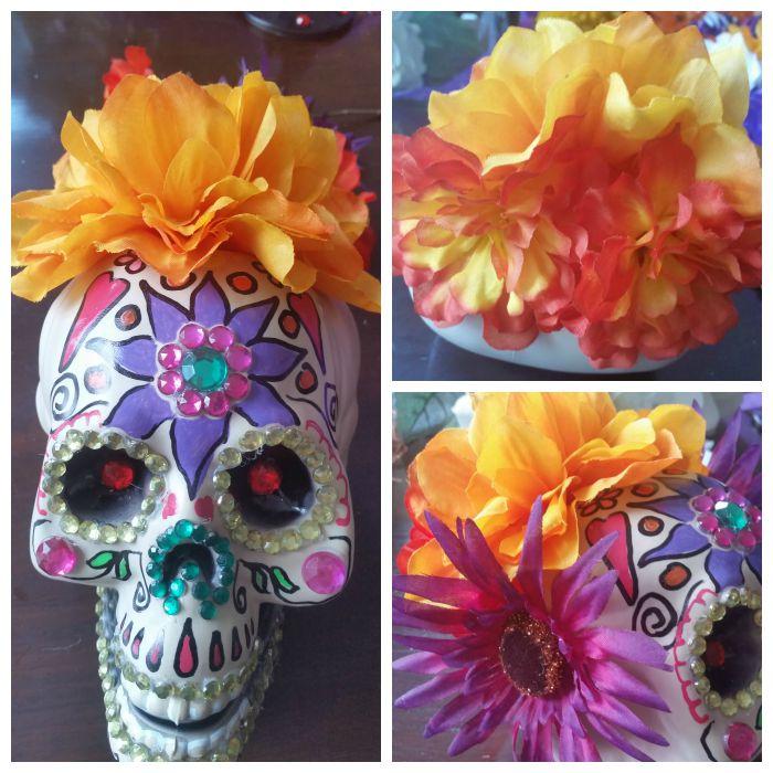 Glue flowers on skull crown