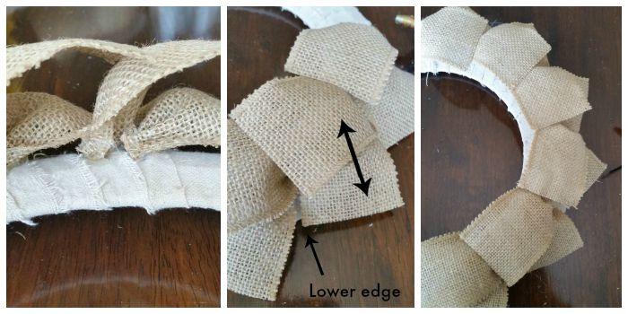 Gluing Burlap Ribbon Strips