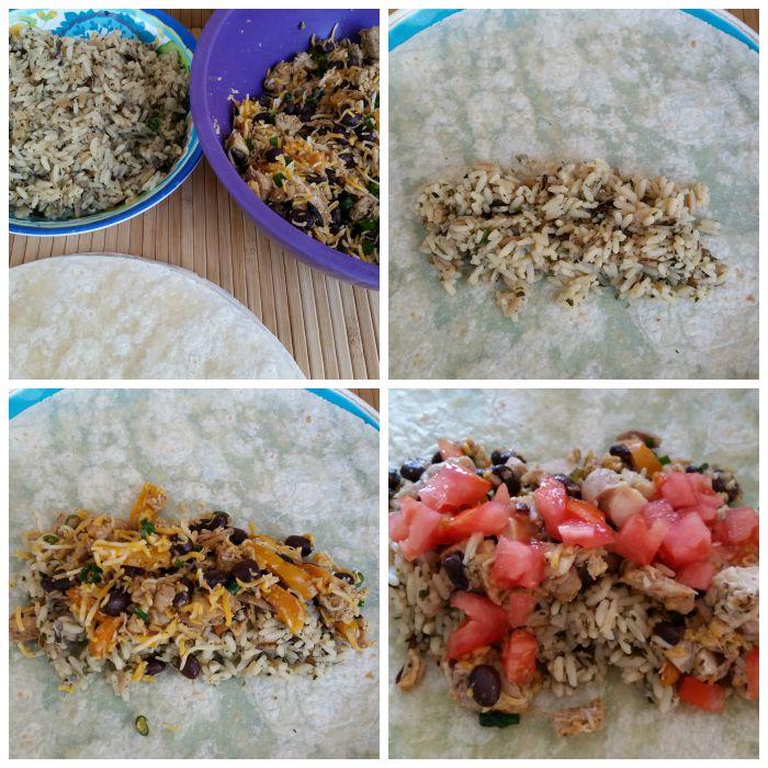 Assemble the Chicken & Rice Burrito Recipe