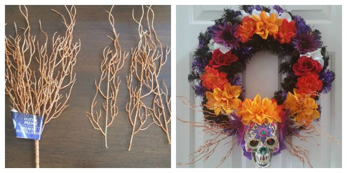 Final touches Day of the Dead wreath