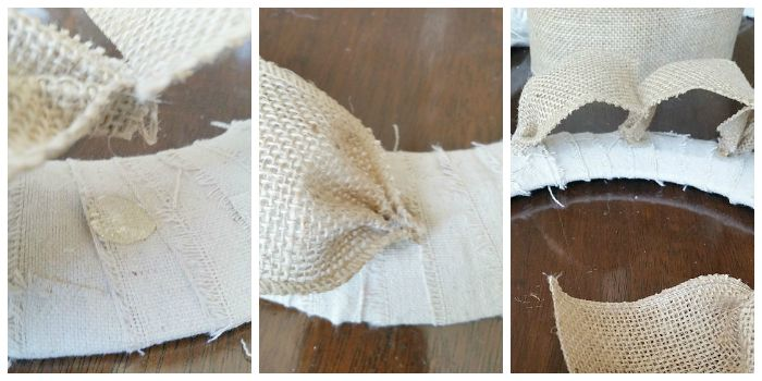 Glue burlap ribbon to wreath